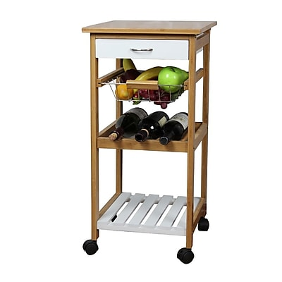 The Urban Port Natural Kitchen Cart