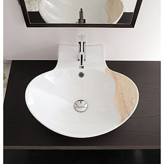 Scarabeo by Nameeks Zefiro Ceramic Oval Vessel Bathroom Sink w/ Overflow