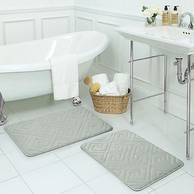 Bath Studio Caicos Large 2 Piece Premium Micro Plush Memory Foam Bath Mat Set; Light Grey