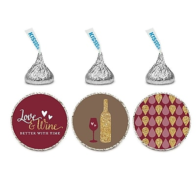 Koyal Wholesale 216 Piece Autumn Fall Love and Wine Better w/ Time Chocolate Drop Label Set