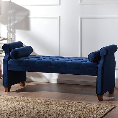 Everly Quinn Belby Upholstered Bench; Navy Blue