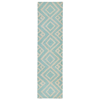 Varick Gallery Chamness Hand-Tufted Aqua Indoor/Outdoor Area Rug; Runner 2' x 8'