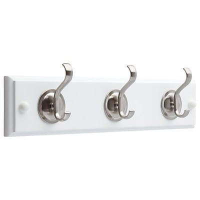 Winston Porter Aegean Hook Rail; Flat White and Satin Nickel Finish