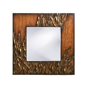 Bayou Breeze Square Antique Red Wood Wall Mirror
