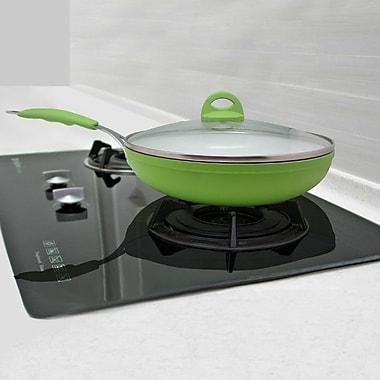 Linen Depot Direct 9'' Ceramic Frying Pan w/ Lid; Lime