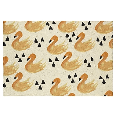 Bouffants & Broken Hearts Swan Hook Hand-Woven Beige/Yellow Area Rug