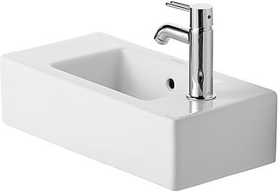 Duravit Vero Ceramic Rectangular Vessel Bathroom Sink w/ Faucet and Overflow; Right