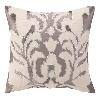 Courtney Cachet Courtney Cachet Ikat Embroidered Decorative Linen Throw Pillow; Taupe