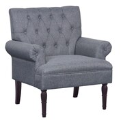Container Upholstered Arm Chair; Light Gray