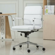 Roundhill Furniture Modica Contemporary Mid-Back Office Desk Chair; White