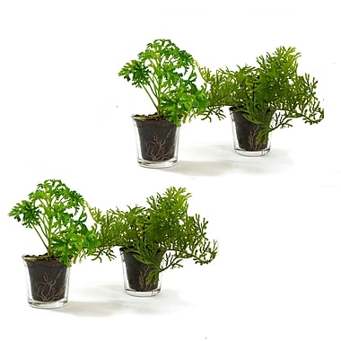 SheasWildflowers Tropical Foliage Faux Grass in Glass Pot (Set of 4)