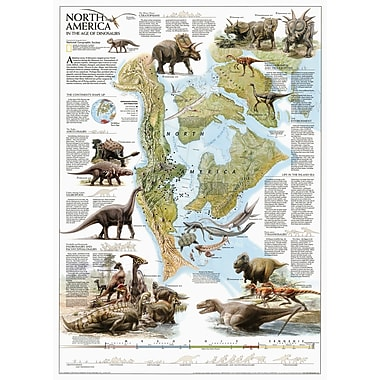 National Geographic Maps Dinosaurs of North America Poster Map; Standard