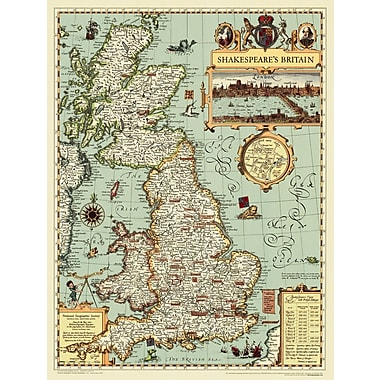National Geographic Maps Shakespeare's Britain Wall Map; Standard