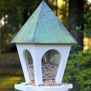 Heartwood Wild Bird Bistro Hopper Bird Feeder; Verdigris