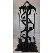 Wildlife D cor Deer Bear Moose Steel Fireplace Tool Stand; Wrinkle Black