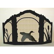 Wildlife D cor Flying Duck 3 Panel Steel Fireplace Screen; Wrinkle Black