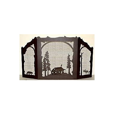 Wildlife D cor Cabin Bear and Moose 3 Panel Steel Fireplace Screen; Wrinkle Black