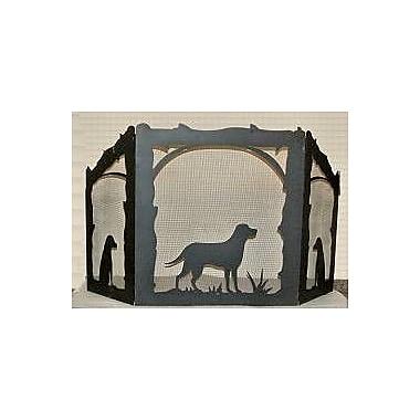 Wildlife D cor Lab Retriever 3 Panel Steel Fireplace Screen; Wrinkle Black