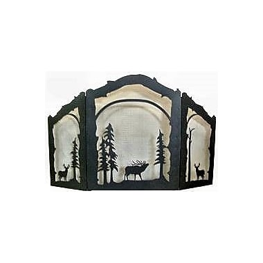 Wildlife D cor Deer and Elk 3 Panel Steel Fireplace Screen; Rust