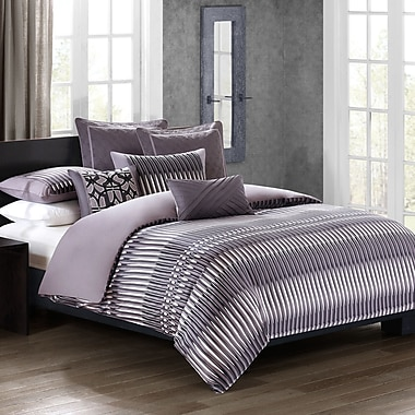 N Natori Abstract Stripe 4 Piece Comforter Set; Queen