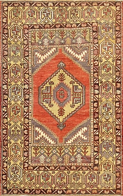 Pasargad Oushak Hand-Knotted Coral Area Rug