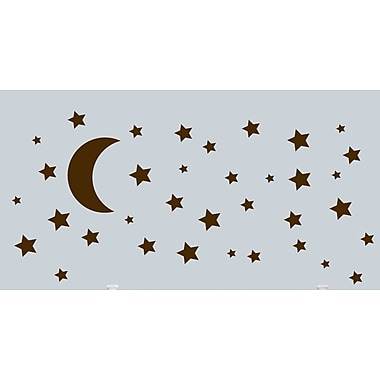 SweetumsWallDecals Moon and Stars Wall Decal; Brown