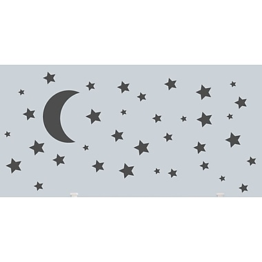 SweetumsWallDecals Moon and Stars Wall Decal; Dark Gray