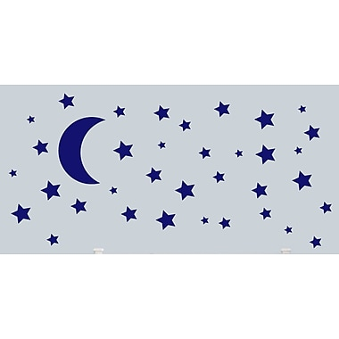 SweetumsWallDecals Moon and Stars Wall Decal; Navy