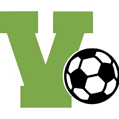 Enchantingly Elegant Monogram Letter ''V'' and Soccer Ball Wall Decal; 22'' H x 30'' W x 1'' D