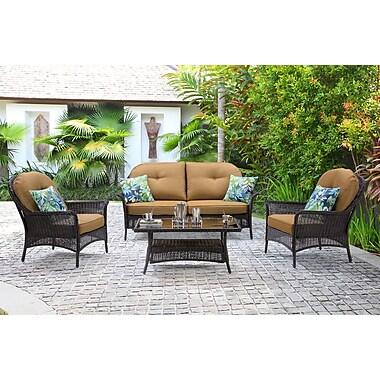 Hanover San Marino 4 Piece Deep Seating Group w/ Cushions; Country Cork