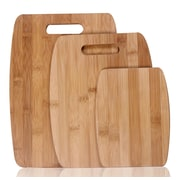 AdecoTrading 3 Piece Natural Bamboo Chopping Board Set