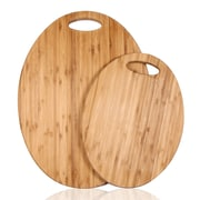 AdecoTrading 2 Piece 100pct Natural Bamboo Oval Chopping Board Set
