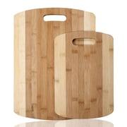 AdecoTrading 2 Piece 100pct Natural Bamboo Chopping Board Set