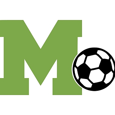 Enchantingly Elegant Letter ''M'' and Soccer Ball Wall Decal; 22'' H x 30'' W x 1'' D