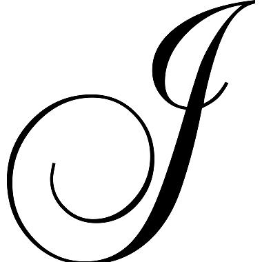 Enchantingly Elegant Letter ''J'' Wall Decal; 22'' H x 30'' W x 1'' D