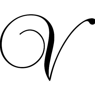 Enchantingly Elegant Letter ''V'' Wall Decal; 17'' H x 22'' W x 1'' D