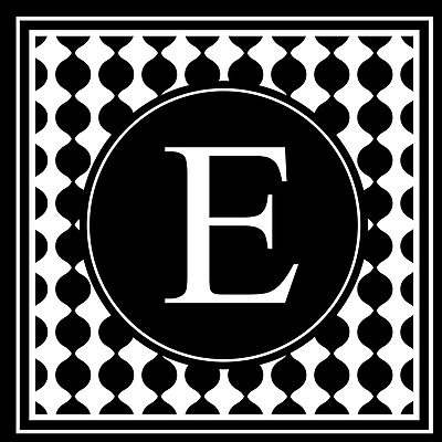 Enchantingly Elegant Letter ''E'' Wall Decal; 22'' H x 22'' W x 1'' D