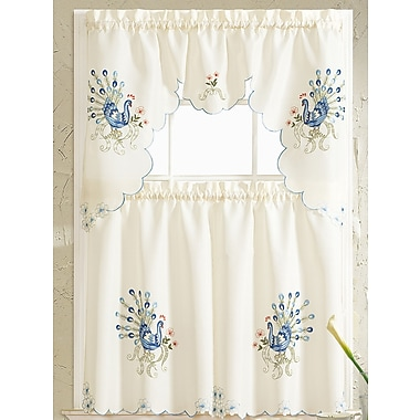 RT Designer's Collection Peacock Embroidered Kitchen Curtain; Blue