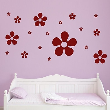 SweetumsWallDecals 18 Piece Flower Wall Decal Set; Cranberry
