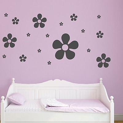SweetumsWallDecals 18 Piece Flower Wall Decal Set; Dark Gray