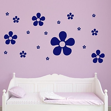 SweetumsWallDecals 18 Piece Flower Wall Decal Set; Navy