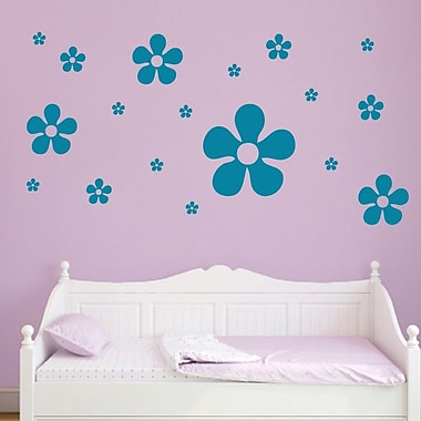 SweetumsWallDecals 18 Piece Flower Wall Decal Set; Teal