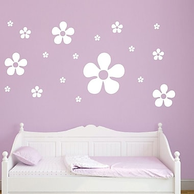 SweetumsWallDecals 18 Piece Flower Wall Decal Set; White