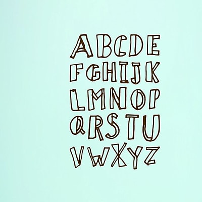 SweetumsWallDecals Alphabet Doodle Wall Decal (Set of 3); Brown