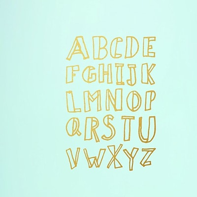 SweetumsWallDecals Alphabet Doodle Wall Decal (Set of 3); Gold