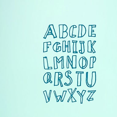 SweetumsWallDecals Alphabet Doodle Wall Decal (Set of 3); Teal