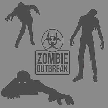 SweetumsWallDecals Zombie Wall Decal Set; Dark Gray