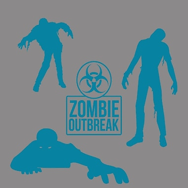 SweetumsWallDecals Zombie Wall Decal Set; Teal