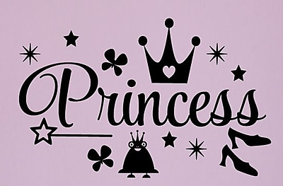 SweetumsWallDecals Princess Wall Decal; Black
