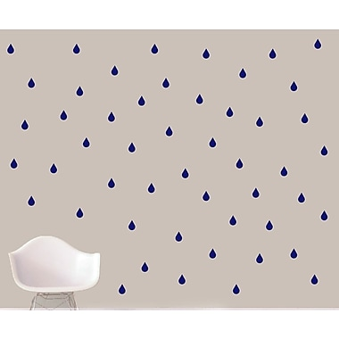 SweetumsWallDecals Raindrops Wall Decal; Navy